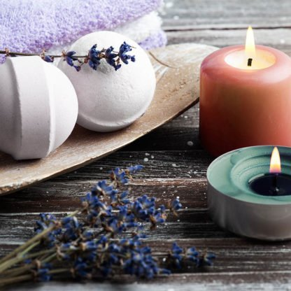 Lavender CBD bath bombs with candles